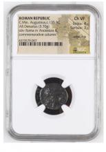Ancient Coin: Roman Republic Silver Denarius C.Min. Augurinus,c.135 B
