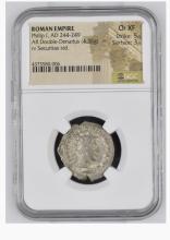 Ancient Coin: Roman Empire AR Double Denarius  Philip I, AD 244-249