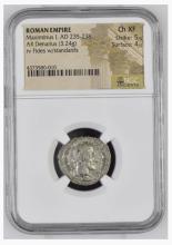 Ancient Coin: Roman Empire AR Silver Denarius Maximinus I, AD 235-238
