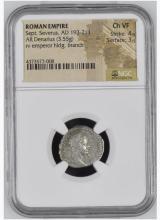 Ancient Coin: Roman Empire AR Silver Denarius Sept. Severus, AD 193-2