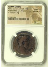 Ancient Coin: Roman Empire Aelius Caesar, AD 136-138 AE Sestertius