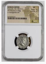 Ancient Coin: CARACALLA. 198-217 AD. Silver Denarius (20mm, 3.38 gm)