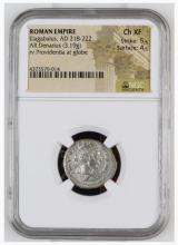 Ancient Coin: Roman Empire Silver Denarius Elagabalus, AD 218-222