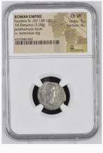 Ancient Coin: Roman Empire Silver Denarius Faustina Sr.,AD 138-140/1