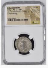 Ancient Coin: Roman Empire Silver Double Denarius Philip I, AD 244-24