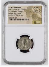 Ancient Coin: Roman Empire Silver Denarius Julia Domna, AD 193-217 RO