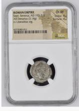 Ancient Coin: Roman Empire Silver AR Denarius sepimius Severus, AD