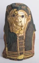 Ancient Egyptian Polychrome and Gilt Cartonnage Mask 100-30 BC.