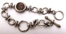 Ancient Roman Bronze coin set in Silver Bracelet c.4th AD.