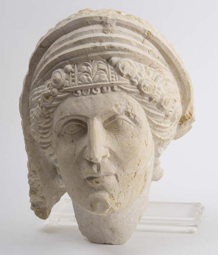 Ancient Palmyran Limestone Head Ca. 3rd-5th century A.D