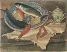 Emilio Notte (Ceglie Messapico 1891 - Napoli 1982) NATURA MORTA CON PESCI olio su tela, cm