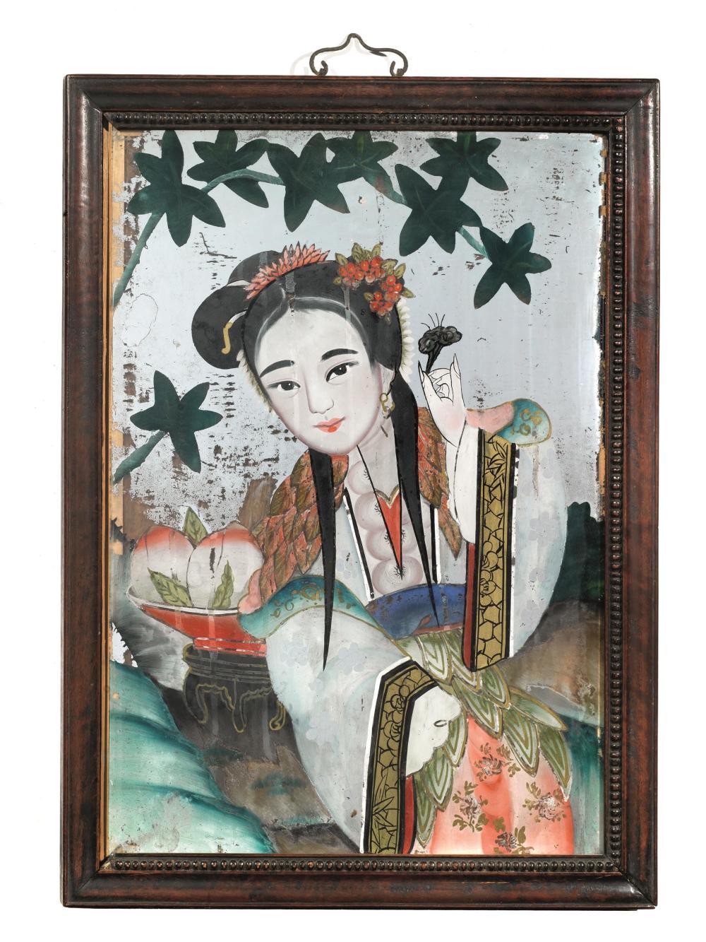 Gruppo di tre dipinti su specchio cina for Lots specchio