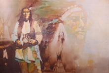 Neil Jones, Native American painting, oil on canvas.  (36
