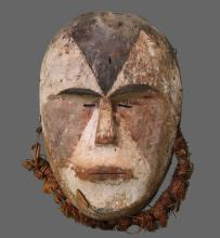 Antique Authentic African Tribal Mask, Ivory Coast.  1 of 3 in a collection.  Provenance: Purchased in 1910 by Palm Beach Private Collection.  (Size: See last photo for measurement.)