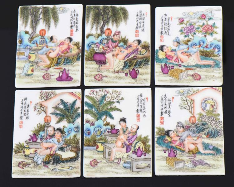 Six Antique Chinese Hand Painted Porcelain Ero