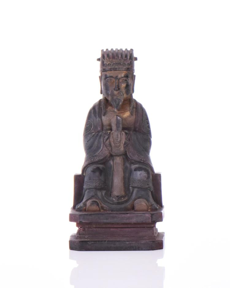 Antique Chinese Gilt Bronze Figure of A Schola