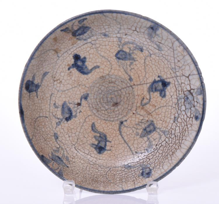 Chinese Blue and White Porcelain Plate With Ha