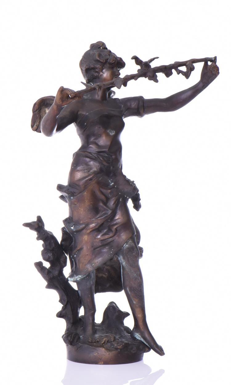 Art Nouveau Artist Signed Bronze Sculpture Of