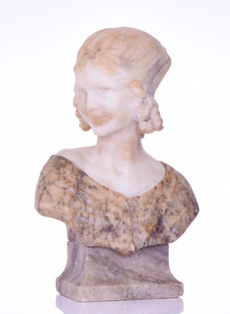 Art Deco Multi Stone Carved Sculpture Of A You
