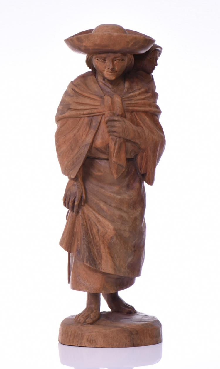 Carved Wood Sculpture Of A Woman Traveling Wit