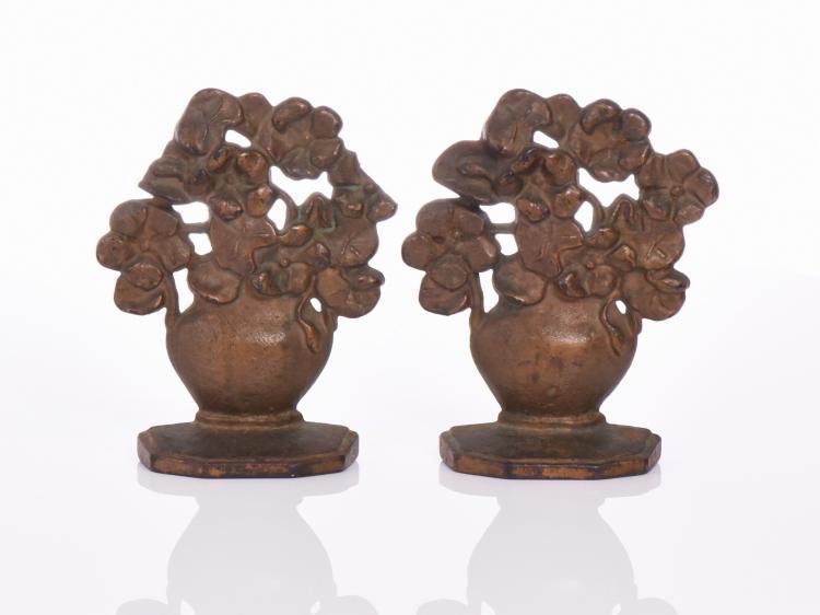 Antique Bronze Flower Pot Bookends. Estimated