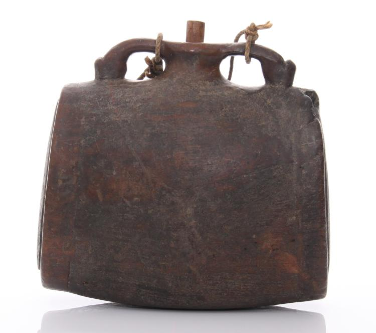 19th Century wood pilgrim's flask with oval fo