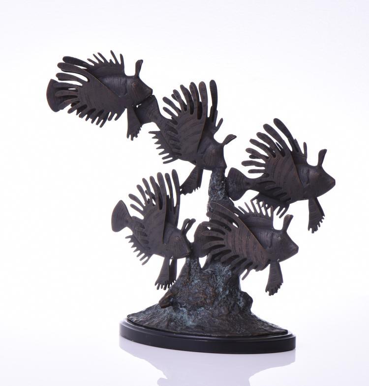 Bronze Sculpture Of A School Of Lion Fish Swim