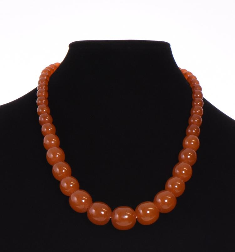 A Natural Amber Graduated Spherical Bead Neckl