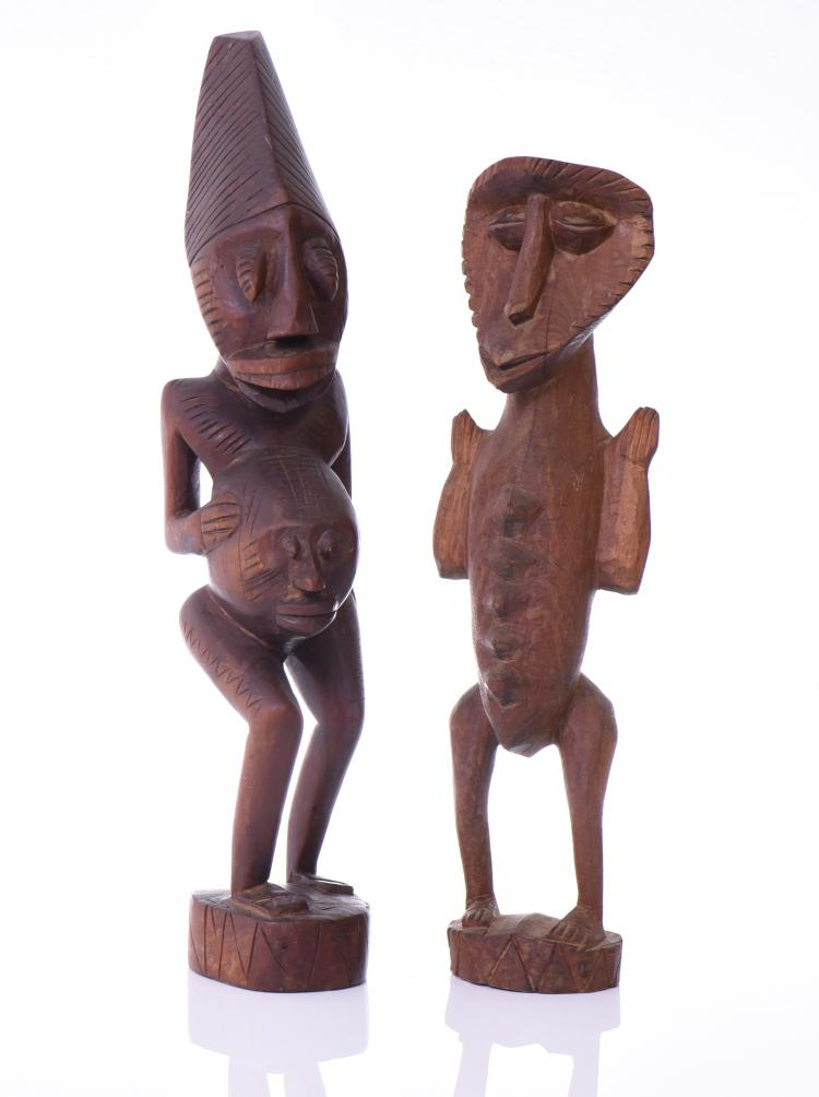 Two African Fertility Figures Carved From Wood
