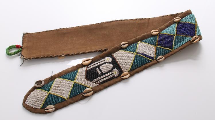Vintage African Yoruba diviner's beaded leathe