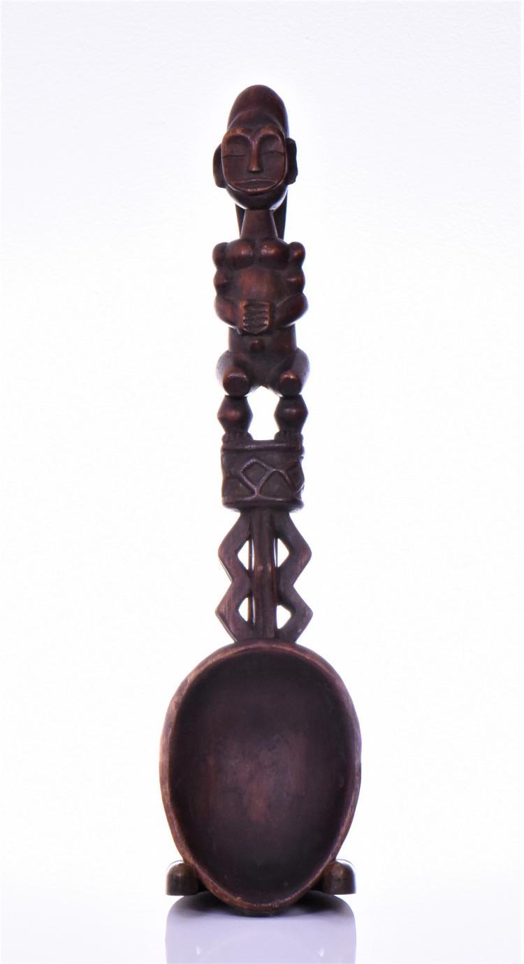 Exquisite African wooden ceremonial spoon, 19t