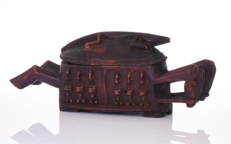 Dogon Tribal Wood Carved Chariot Container Box