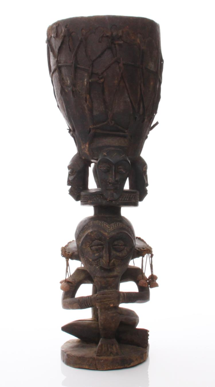 Antique wood carved African Yoruba tribal drum