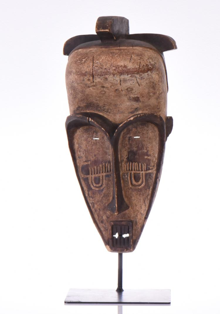 African Tribal Mask, Wood Carved. Base Stand N