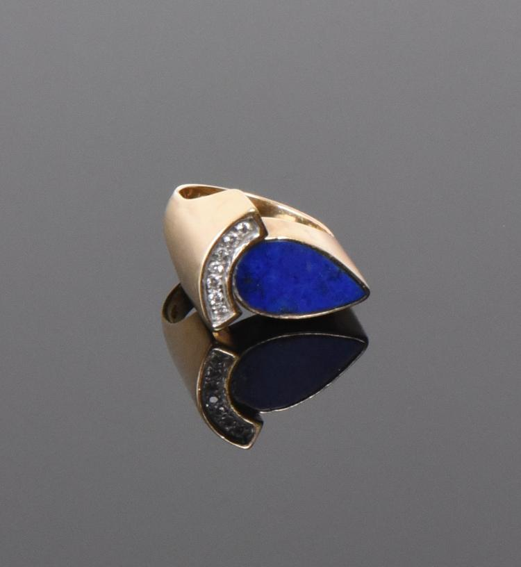 14k Gold Pisces Ring With Lapis Lazuli And Dia