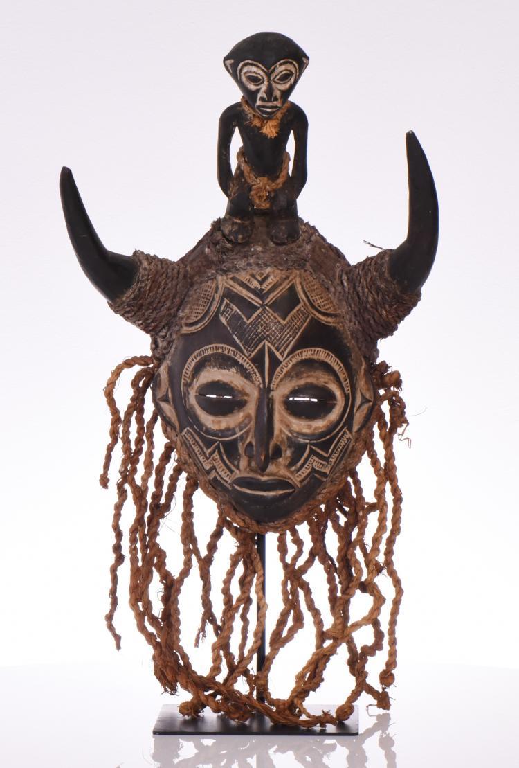 Rare African Chokwe Mask, Wood Carved Adorned