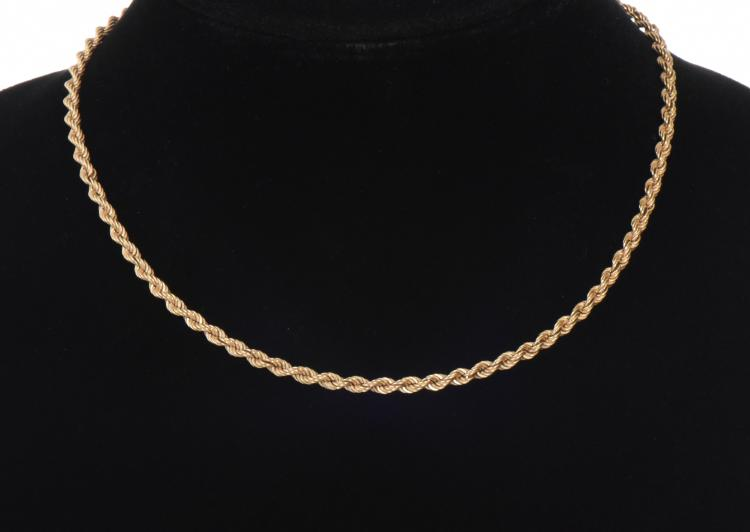 14k Gold Rope Chain.  Weight:  Gold Tested. Ba