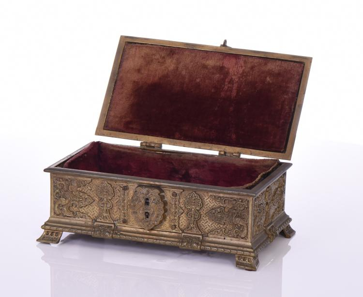 French Gilt Bronze Satin Lined Jewelry Casket/