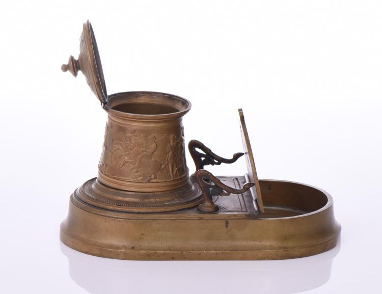 French Brass Inkwell And Pen Display.   Estima