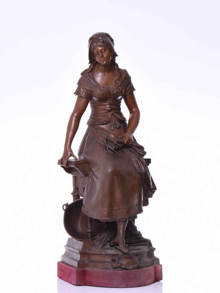 French figural metal sculpture of