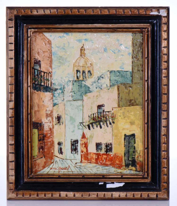 Mid-Century Modern Oil Painting On Wood Panel,