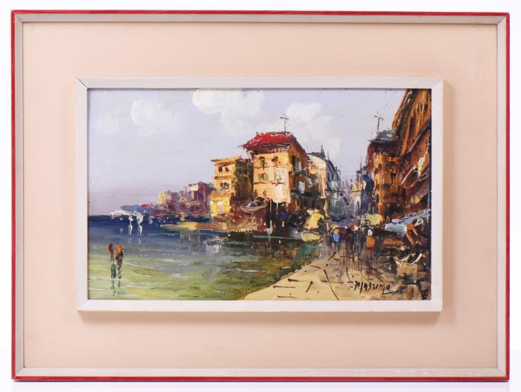 Mid-Century Modern Mediterranean Coastal Scene