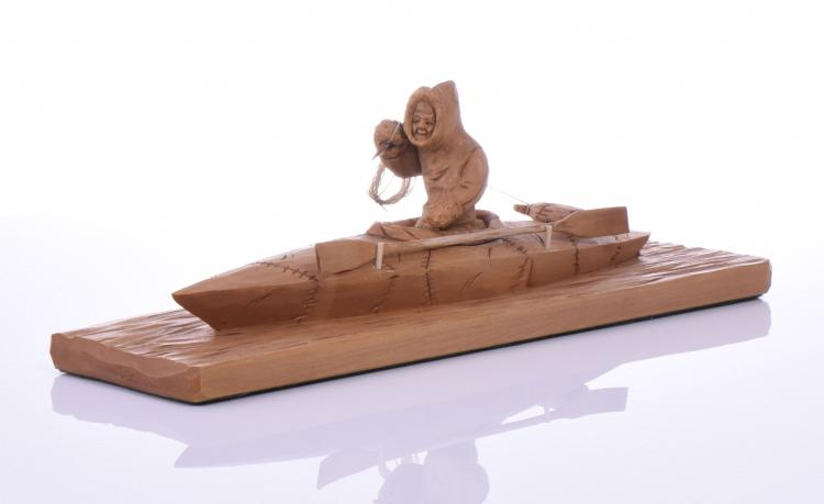 Vintage Carved Wood Inuit Eskimo Hunting Boat,