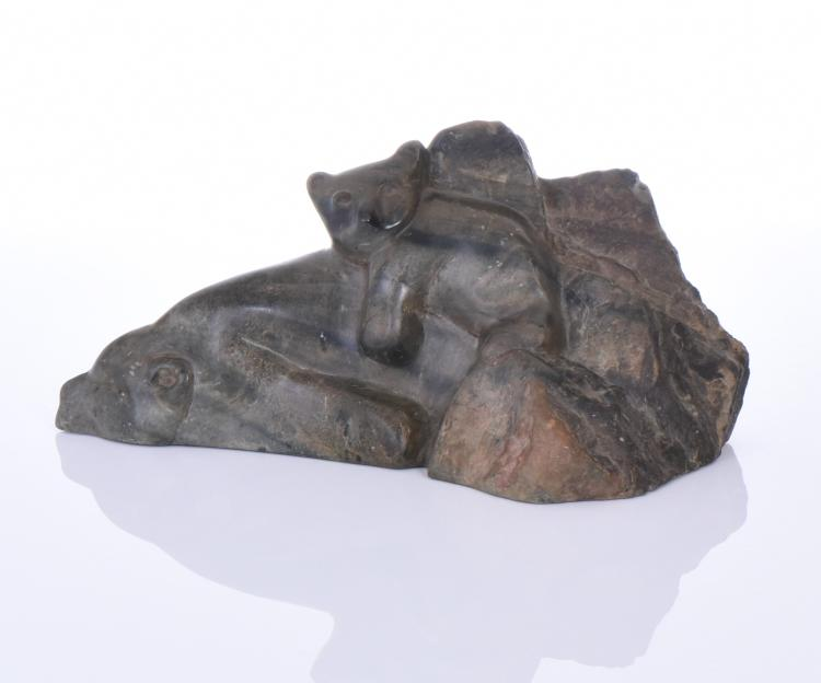 L. Wilson, 1930 Inuit Stone Carving Of A Sleep