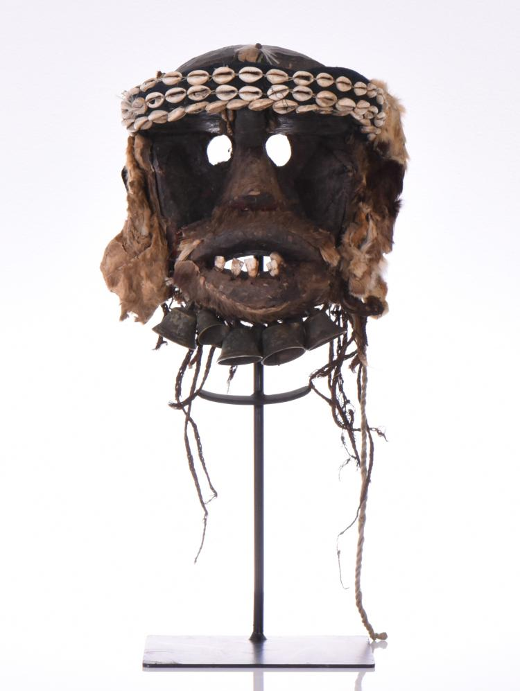 African Tribal Mask, Wood Carved With Bells, A