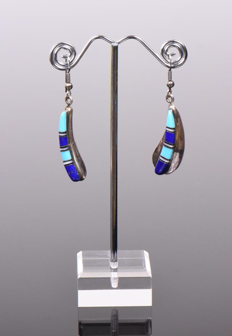 Zuni Stone Mosaic Sterling Silver Earrings, wi