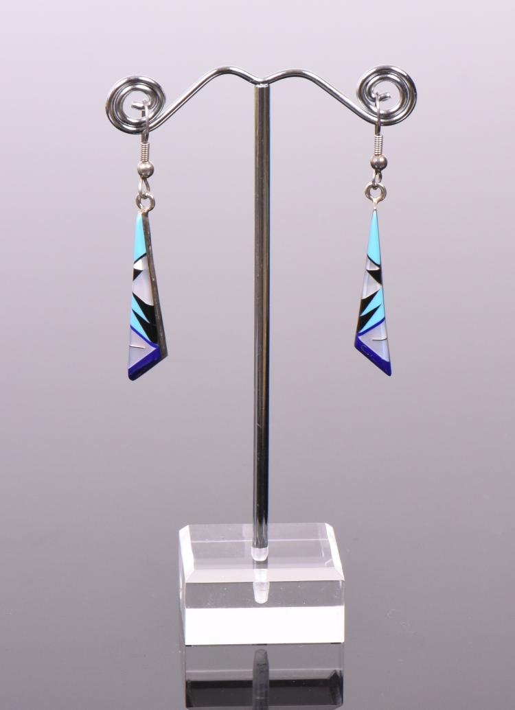 Fred Bowannie, Zuni Mosaic Sterling Silver Ear
