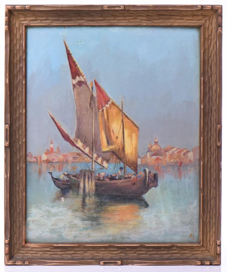Late 1800'S Impressionist Venice Canal Scene.