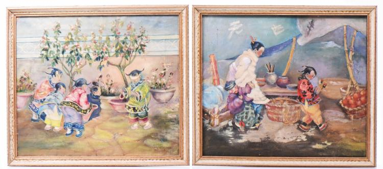 Two Paintings Of Chinese Life. One Shows Child