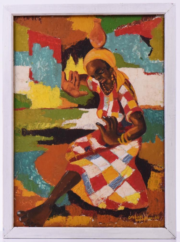 Rare True Haitian Oil Painting On Masonite. Go